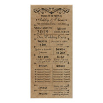 Vintage Rustic Typography Style Wedding Programs