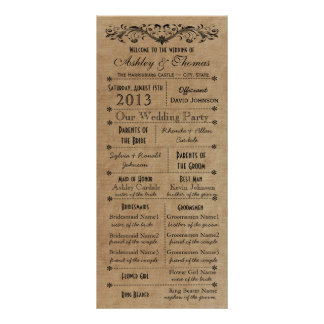 Vintage Rustic Typography Style Wedding Programs Rack Card