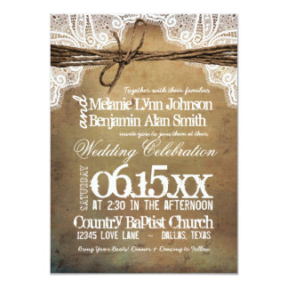 Vintage Rustic Typography Wedding Invitations Custom Announcement