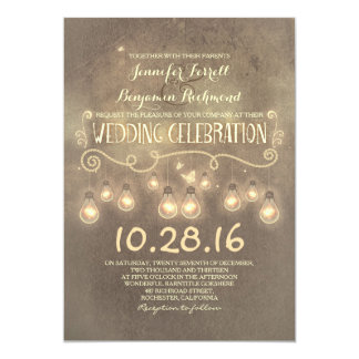 Vintage rustic wedding invitation with lights