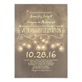 "Vintage rustic wedding invitation with lights 5"" x 7"" invitation card"