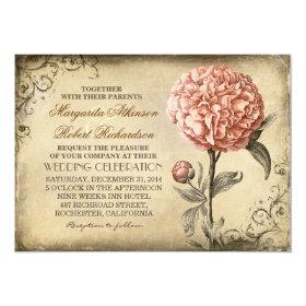 vintage rustic wedding invitation with pink peony 5