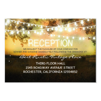 vintage rustic wedding reception card with lights