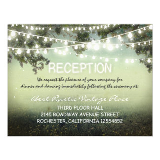 vintage rustic wedding reception cards with lights