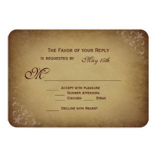 Vintage Rustic Wedding RSVP Cards Rounded Corners