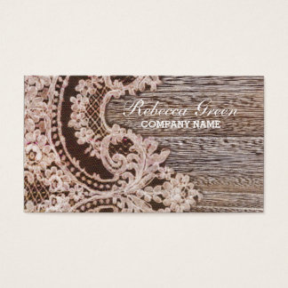 vintage rustic western country chic lace barn wood business card