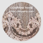 vintage rustic western country chic lace barn wood classic round sticker