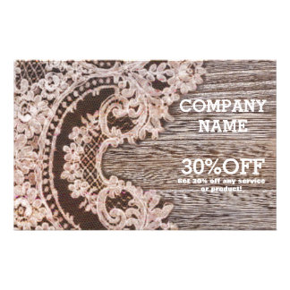 vintage rustic western country chic lace barn wood flyer
