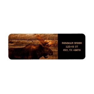vintage rustic WESTERN country woodgrain MOOSE Labels