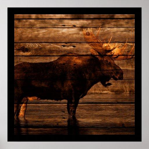 vintage rustic WESTERN country woodgrain MOOSE Posters