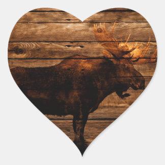 vintage rustic WESTERN country  woodgrain MOOSE Heart Sticker