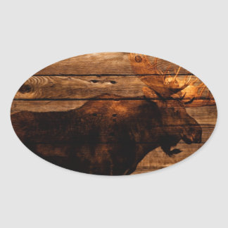 vintage rustic WESTERN country  woodgrain MOOSE Oval Sticker