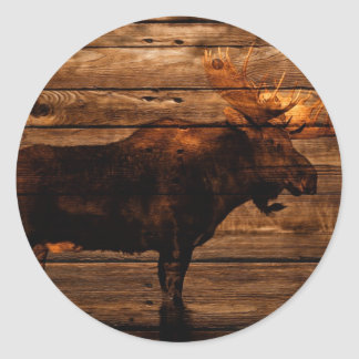 vintage rustic WESTERN country  woodgrain MOOSE Classic Round Sticker