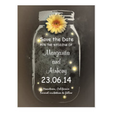 Vintage Rustic Whimsical Mason Jar Save the Date Post Cards