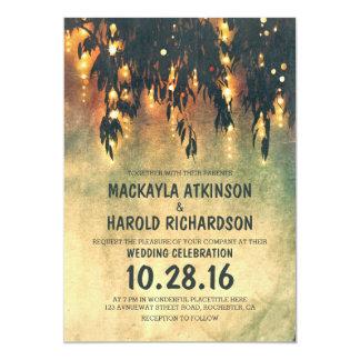 vintage rustic willow tree lights wedding invites