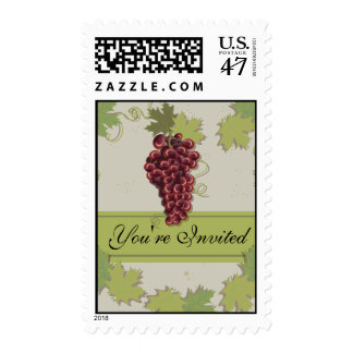 Vintage Rustic Wine grapes postage stamp