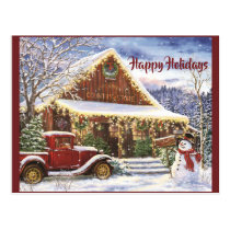 Vintage Rustic Winter Christmas Country Store Postcard
