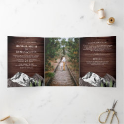 Vintage Rustic Wood Mountain Forest Photo Wedding Tri-Fold Invitation