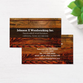 Vintage Rustic Wood Plank Carpentry Woodworking Business Card