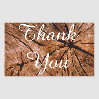 Vintage / Rustic Wood Stump Thank You Stickers