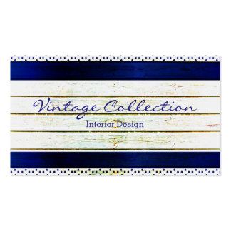 Vintage Rustic Wood Textured Royal Blue And White Business Card