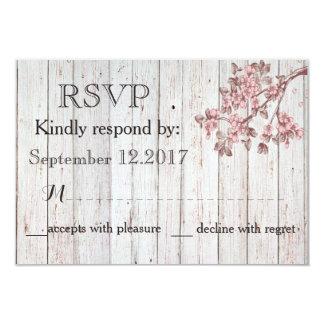 Vintage rustic wooden cherry tree wedding RSVP Card
