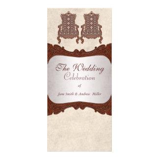 Vintage rustic wooden wedding program customized rack card