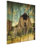 Vintage rustic woodgrain country barn canvas print