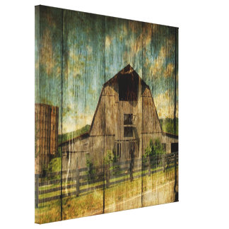 Vintage rustic woodgrain country barn canvas print
