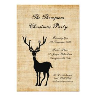 Vintage Rustic Xmas Reindeer Christmas Party Custom Invite