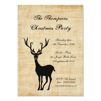 Vintage Rustic Xmas Reindeer Christmas Party 4.5x6.25 Paper Invitation Card