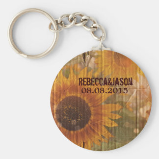 vintage rustic yellow sunflowers country wedding basic round button keychain