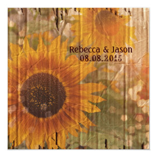 """vintage rustic yellow sunflowers country wedding 5.25"""" square invitation card"""