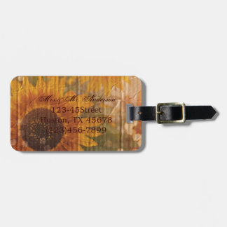 vintage rustic yellow sunflowers country wedding tags for bags