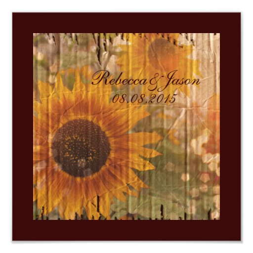 vintage rustic yellow sunflowers country wedding art photo