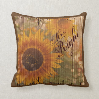 vintage rustic yellow sunflowers Mrs Right Throw Pillow