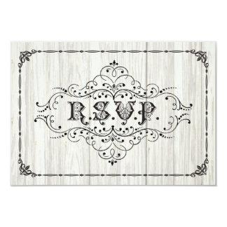 Vintage rústico RSVP que se casa en la madera Invitación 8,9 X 12,7 Cm