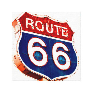 Vintage Rusting Route 66 Roadsign Canvas Print