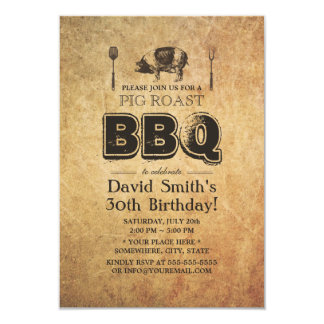 Vintage Rusty Grunge Pig Roast BBQ Birthday Party 3.5x5 Paper Invitation Card