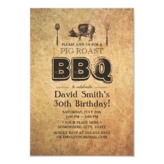 Vintage Rusty Grunge Pig Roast BBQ Birthday Party Card