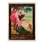 Vintage Sables-d'Or-les-Pins France travel ad Post Card