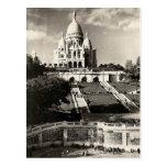 Vintage Sacré-Coeur de Montmartre en Paris Photo Postal
