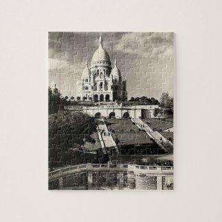 Vintage Sacré-Coeur de Montmartre in Paris Photo Jigsaw Puzzle