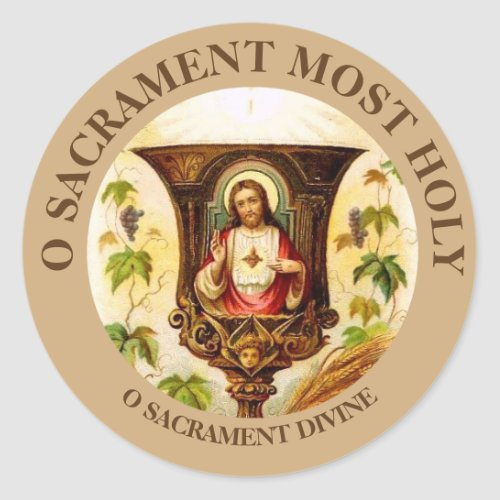 Vintage Sacred Heart of Jesus Chalice Classic Round Sticker