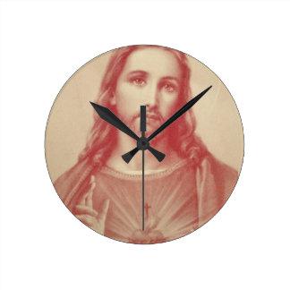 Vintage Sacred Heart of Jesus Round Wall Clock