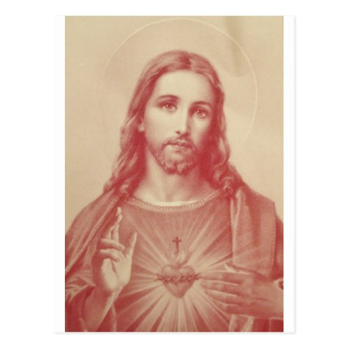 Vintage Sacred Heart of Jesus Postcard