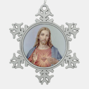 Vintage Sacred Heart of Jesus Snowflake Pewter Christmas Ornament