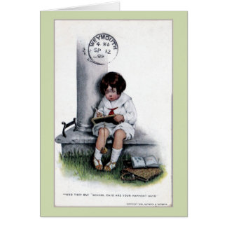 Vintage sad little girl, school days 1909 Weymouth Card