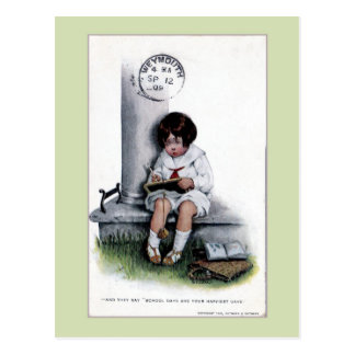 Vintage sad little girl, school days 1909 Weymouth Postcard