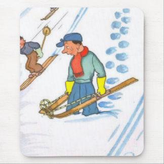 Vintage Sad Skier Mouse Pad